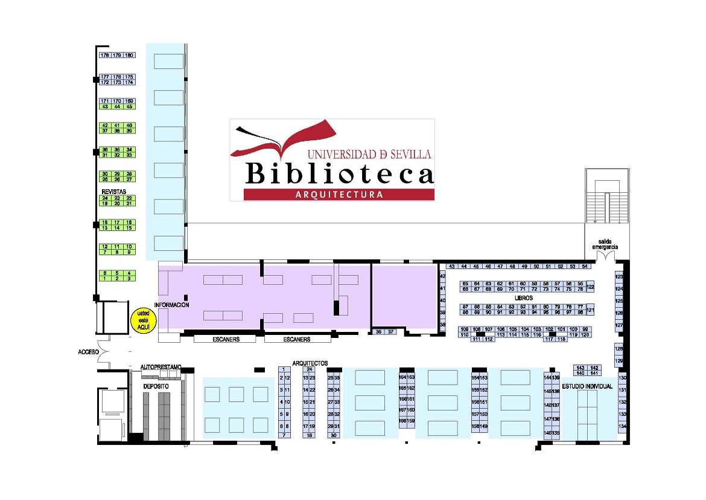 Plano biblioteca universidad de sevilla for Planta arquitectonica biblioteca