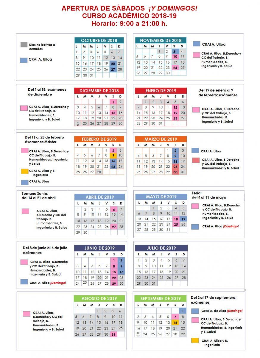 Calendario Academico Us.Sabados Y Domingos Biblioteca Universidad De Sevilla