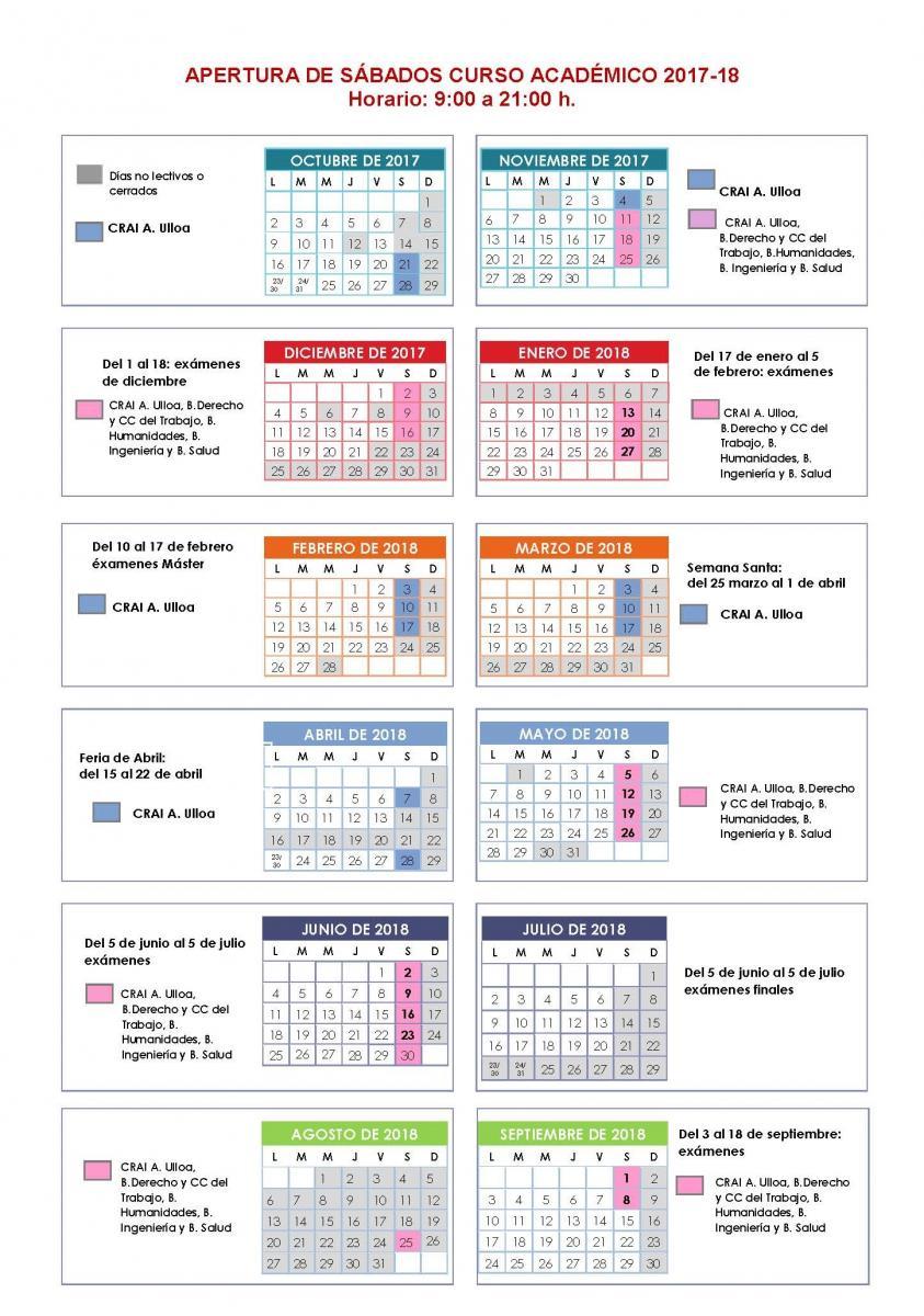 Calendario Examenes Derecho Us.Sabados Biblioteca Universidad De Sevilla