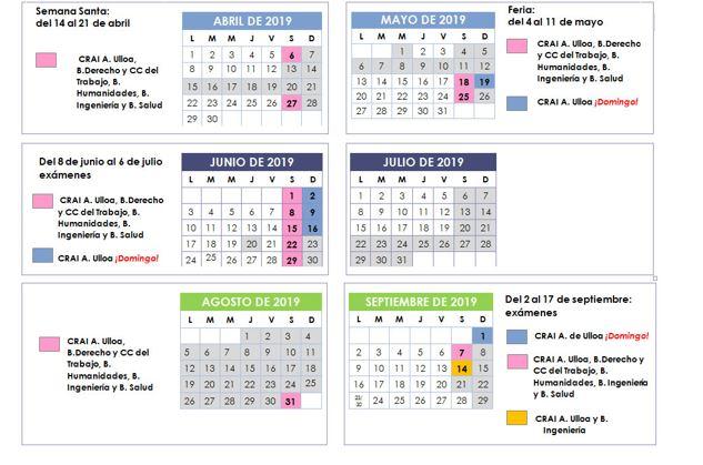 Calendario apertura exámenes