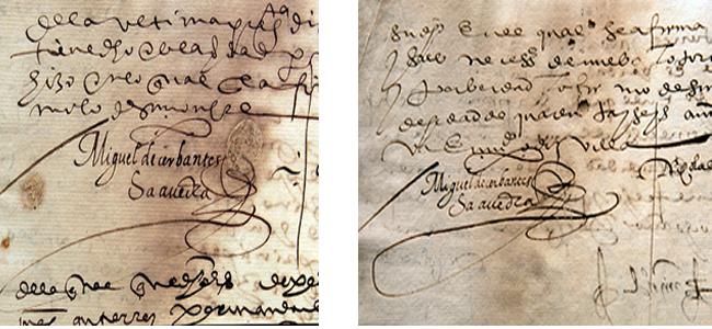 Firmas de Cervantes n elProceso seguido a instancia de Tomás Gutiérrez contra la Cofradía y Hermandad del Santísimo Sacramento del Sagrario… (1593-1594)