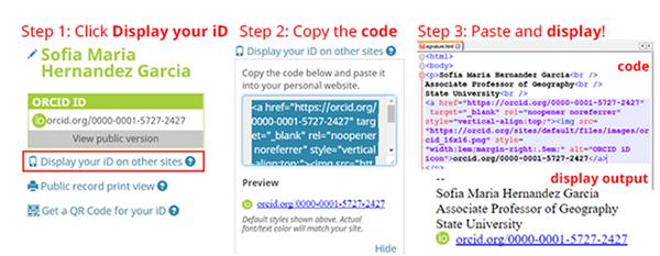 Mostrar el identificador ORCID en la firma de correo electrónico y/o en sitios web